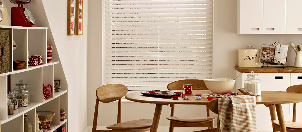 image of window blinds with curtains